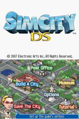 SimCity DS Nintendo DS Menu screen.