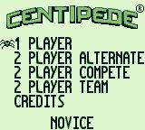 Arcade Classic 2: Centipede / Millipede Game Boy Centipede: Main menu