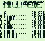 Arcade Classic 2: Centipede / Millipede Game Boy Millipede: The high scores.