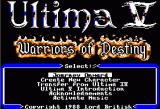 Ultima V: Warriors of Destiny Apple II Main Menu