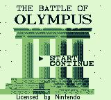 The Battle of Olympus Game Boy Title screen and main menu