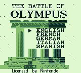 The Battle of Olympus Game Boy Select your language.