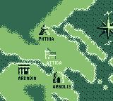 The Battle of Olympus Game Boy The map