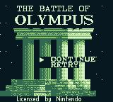 The Battle of Olympus Game Boy I can continue or retry.