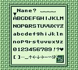 Harvest Moon GB Game Boy Choose your name