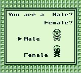 Harvest Moon GB Game Boy Are you male or female?