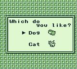 Harvest Moon GB Game Boy Do you like dogs or cats?
