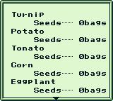 Harvest Moon GB Game Boy I have no bags of veggies.