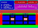 Kung-Fu Master ZX Spectrum Game menu. The player can choose a level.