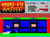 Kung-Fu Master ZX Spectrum Player is knocked down by an exploding confetti ball.