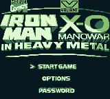 Iron Man / X-O Manowar in Heavy Metal Game Boy Title screen and main menu