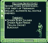 Iron Man / X-O Manowar in Heavy Metal Game Boy Your mission objectives.