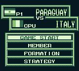 International Superstar Soccer Game Boy It's Paraguay vs. Italy.
