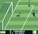 International Superstar Soccer Game Boy Leaping to block the goal.