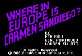 Where in Europe is Carmen Sandiego? Apple II Title screen.