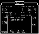 Wizardry: Proving Grounds of the Mad Overlord NES Character statistics and equipment