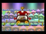 Paper Mario Nintendo 64 Riding the toy train through Shy Guy's Toy Box.