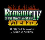 Romance of the Three Kingdoms IV: Wall of Fire SNES Title