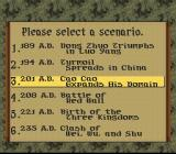 Romance of the Three Kingdoms IV: Wall of Fire SNES Selecting a historical period