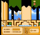 Kirby's Adventure NES Tornado-ing through the treetops.