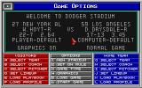Epic Baseball DOS Pre-game options menu.