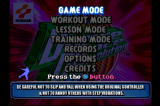 Dance Dance Revolution PlayStation Game mode selection screen.