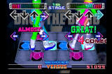 Dance Dance Revolution PlayStation Versus Mode in Beginner level. The characters on screen are a good guide to understanding how to play the game.