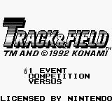 Track & Field Game Boy Main menu