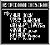 Track & Field Game Boy Event Select