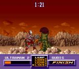 Ultraman SNES When the life bar flashes finish, Ultraman must use his most powerful attack to win the match
