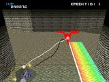 Xevious 3D/G+ PlayStation Enemy shooting a rainbow beam.