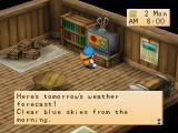 Harvest Moon: Back to Nature PlayStation Watching the weather report in the farmhouse.