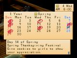 Harvest Moon: Back to Nature PlayStation Calendar