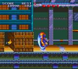 Sparkster SNES Using a dashing move to break through the wall.