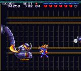 Sparkster SNES Attacking an opponent in the air