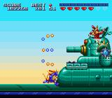 Sparkster SNES Fighting a large tank