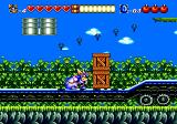 Sparkster Genesis Fighting on top of a long train