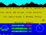 3D Desert Patrol ZX Spectrum The player's tank is destroyed by a landmine