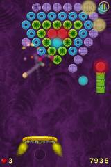 Jet Ball iPhone The purple blocks require more than one hit to be destroyed.