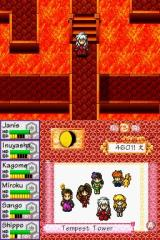 InuYasha: Secret of the Divine Jewel Nintendo DS You move and act on the map in the upper screen. The lower screen displays party statistics, moon phase, and name of the location.