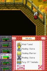 InuYasha: Secret of the Divine Jewel Nintendo DS And the skills screen, this time showing Miroku's skills. Most of these can only be used during battle.
