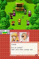InuYasha: Secret of the Divine Jewel Nintendo DS Part of a story animation, showing the whole party and Kaede, one of the more important side characters from the anime. The dialogs are displayed on the lower screen.