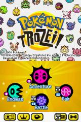 Pokémon Trozei! Nintendo DS Title screen with main menu.