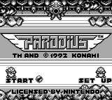 Parodius Game Boy Title screen