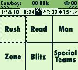 NFL Quarterback Club '95 Game Boy What defensive category will you choose?