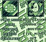 NHL 95 Game Boy Main menu