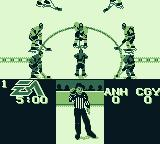NHL 95 Game Boy Throwing down the puck.