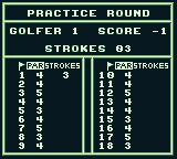 PGA European Tour Game Boy My practice scorecard.