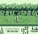 PGA European Tour Game Boy Taking a swing on the fairway.