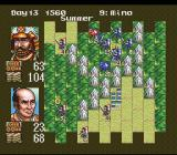 Nobunaga's Ambition SNES Two units are fighting.